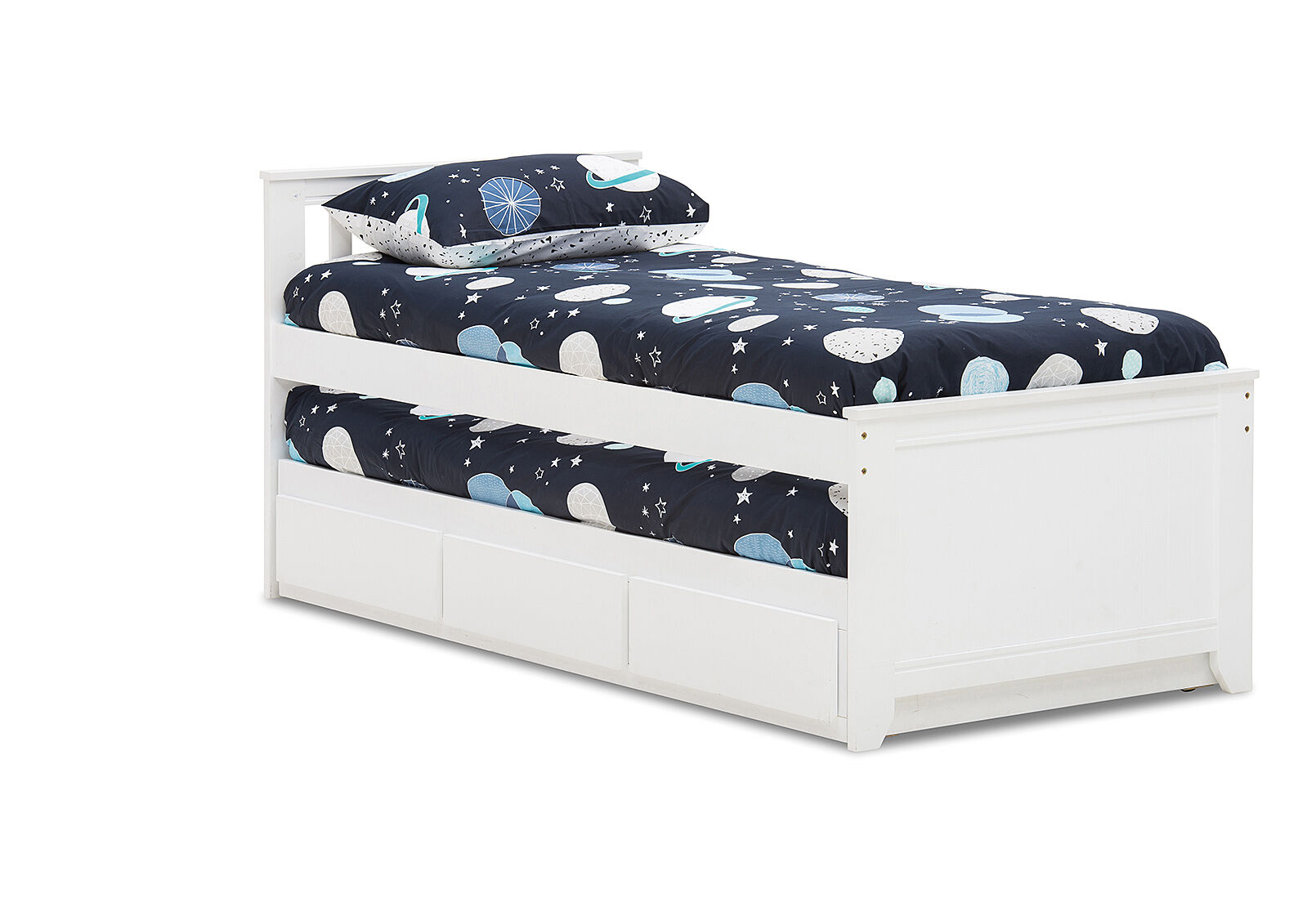 White Captain Jack Single Trundle Bed Amart Furniture