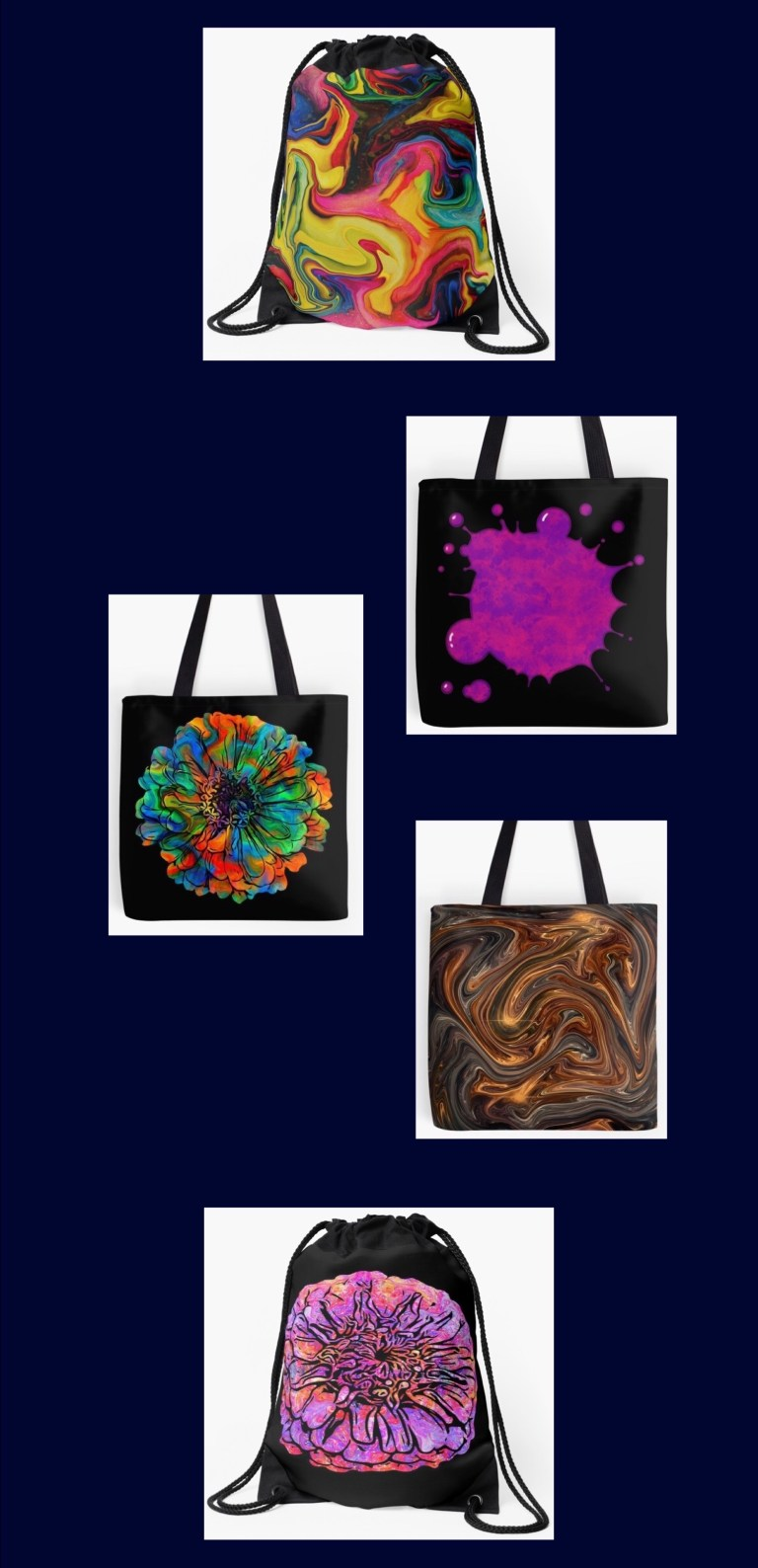Tote bags in several sizes, and drawstring bags, each one available in up to 25 of my designs.