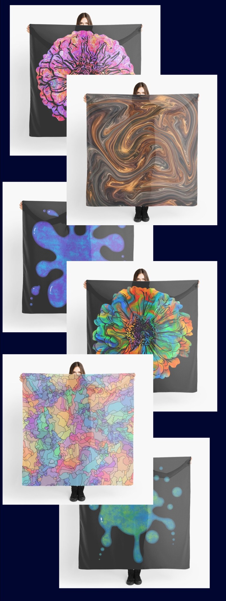 Large square scarves, available in up to 25 of my designs.