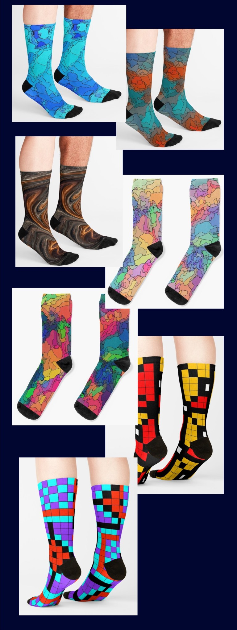 Socks in one size fits most men and women, each one available in up to 25 of my designs.