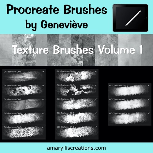 Free texture brushes to use with Procreate on iPad.