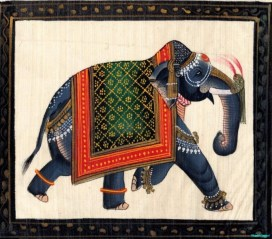 An elephant decorated with fringes, bangles and patterned cover proceeds left to right as a bookend illustration