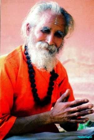 A kindly looking elderly man is clad in saffron robe, he has a shock of white hair and beard clasps his hands in blessing