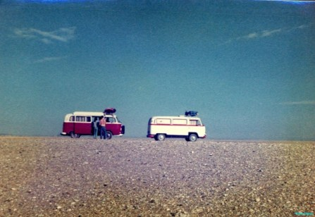 Our two campervans stopped on the horizon