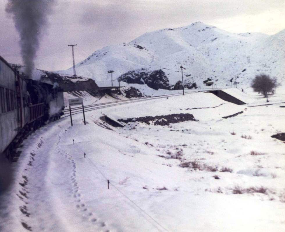 The train chuffing up to the Afghan Border, Pakistan