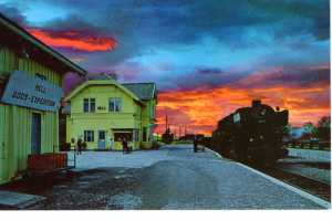 Lurid postcard of Hell station