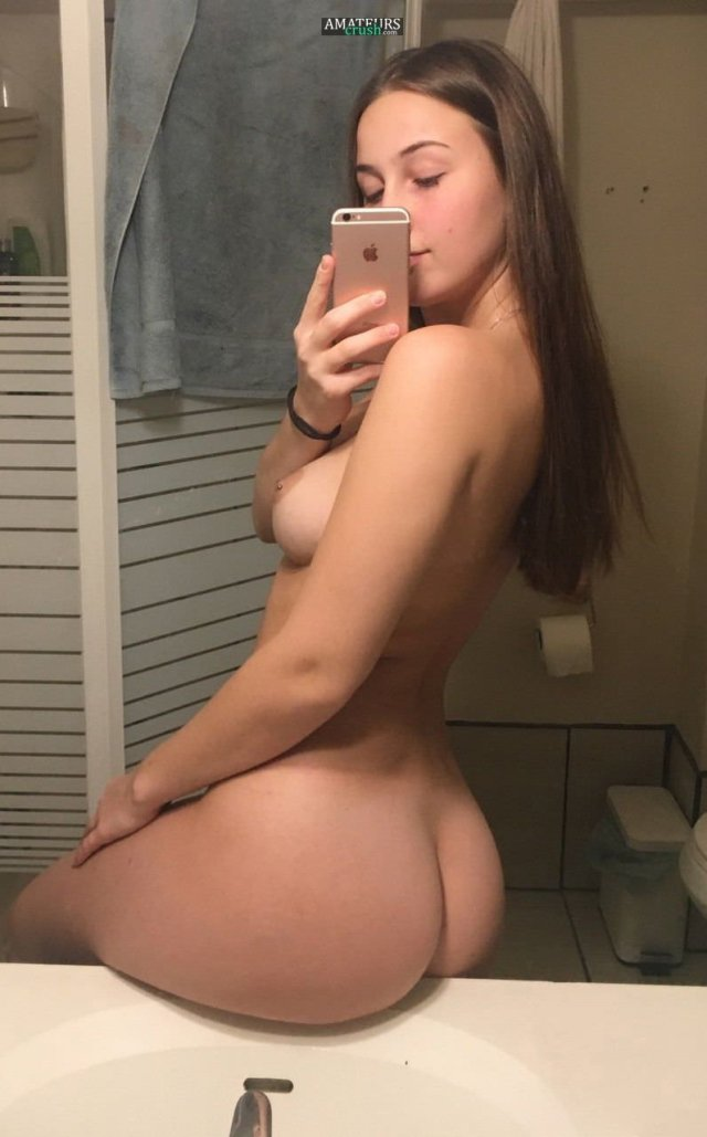 Naked Girl Selfie Huge Ass Sitting On Her Bathroom Counter