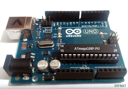 Resim-2. Arduino Üzerinde bulunan bir ATmega328P mikrodenetleyicisi.