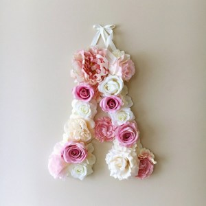 Completely handmade, the Blush Pink Custom Flower Letter is a great for decoration at a wedding using the couples initials, and a lovely keepsake for afterwards.