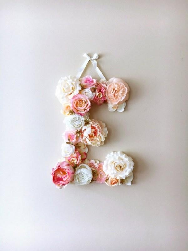 MSDAVF015 – Pink and Coral Custom Flower Letter – PINK