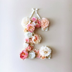 Completely handmade, the Pink and Coral Custom Flower Letter is a great for decoration at a wedding using the couples initials, and a lovely keepsake for afterwards.