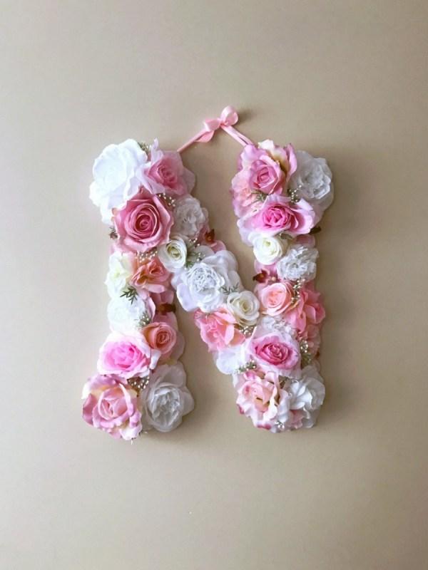 MSDAVF023 – Soft Pink and White Custom Flower Letter – PINK
