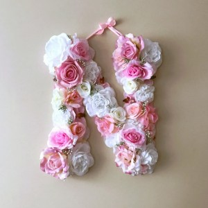 Completely handmade, the Soft Pink and White Custom Flower Letter is a great for decoration at a wedding using the couples initials, and a lovely keepsake for afterwards.