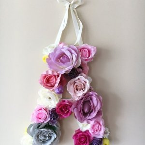 Completely handmade, the Lavender Custom Flower Letter is a great for decoration at a wedding using the couples initials, and a lovely keepsake for afterwards.