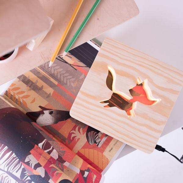 MSHWLH002 – Fox Nursery Lamp – Pine Wood