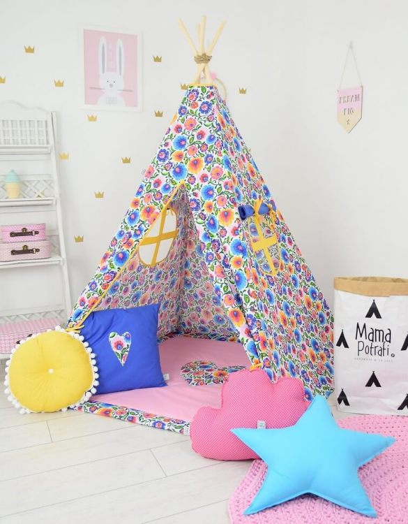 Add the perfect touch to your child's room with the Folk Love Children's Teepee Tent. Let your little enjoy their own teepee for hours of play time and imagination.