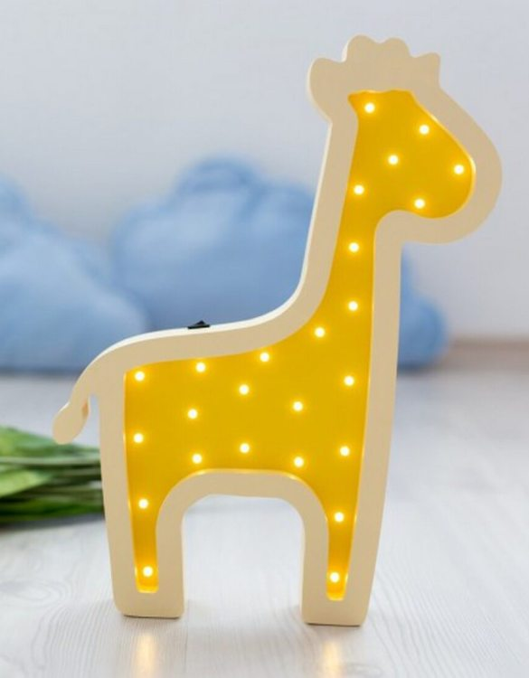 With a charming design, the Giraffe Wooden Night Light provides a reassuring glow for your little one, making it perfect for a nursery or kids room nightlight, or an interesting addition to any other space.
