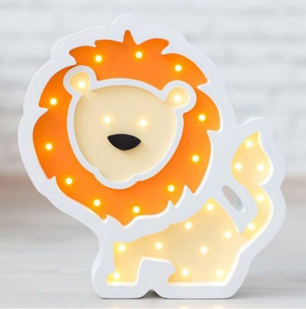 MSHWLH013 – Lion Wooden Night Light – Orange – 6