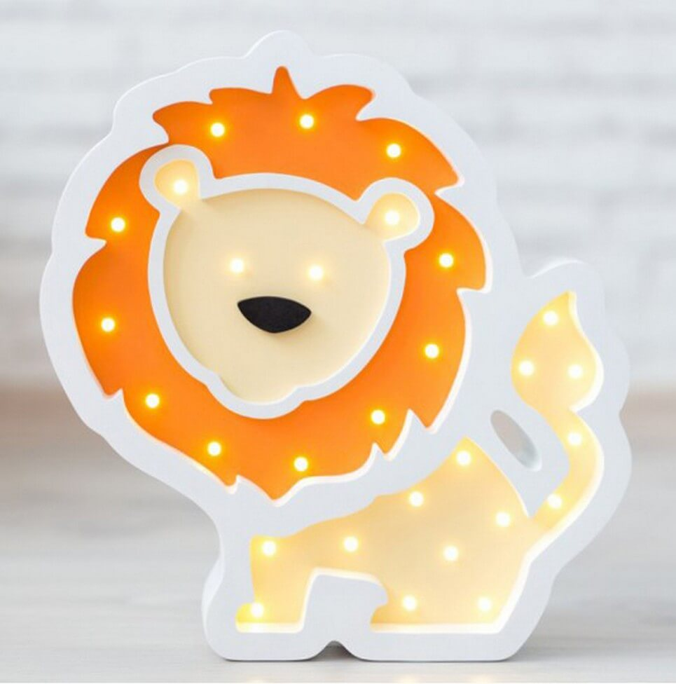 MSHWLH013 – Lion Wooden Night Light – Orange – 6