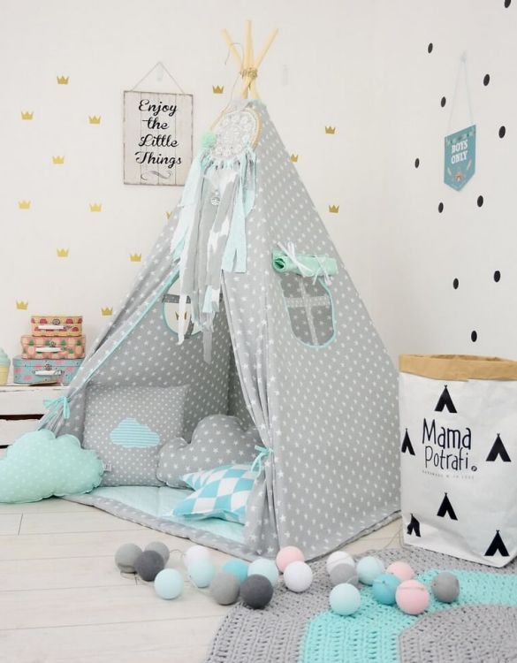 Add the perfect touch to your child's room with the Minty Memories Children's Teepee Tent. Let your little enjoy their own teepee for hours of play time and imagination.