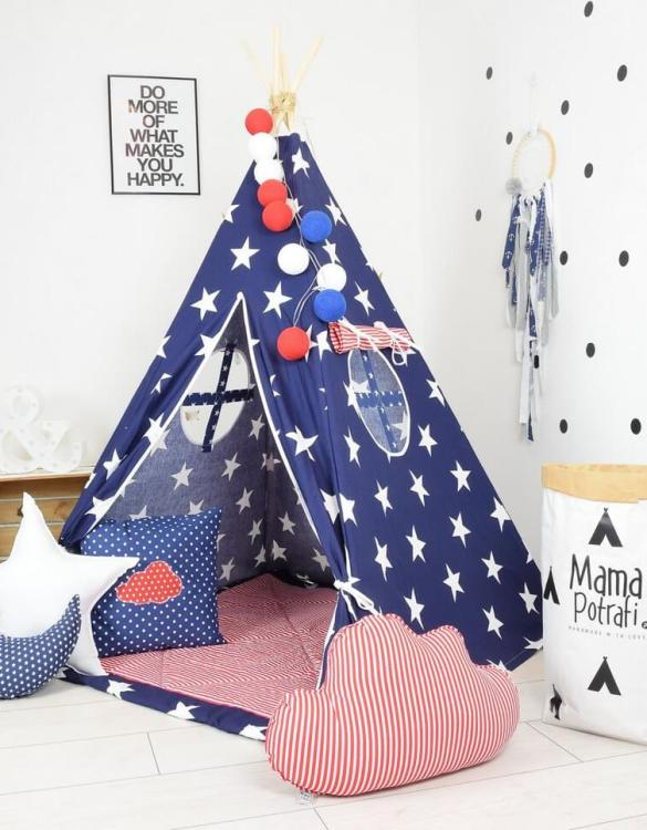 Add the perfect touch to your child's room with the Navy Sky Children's Teepee Tent. Let your little enjoy their own teepee for hours of play time and imagination.