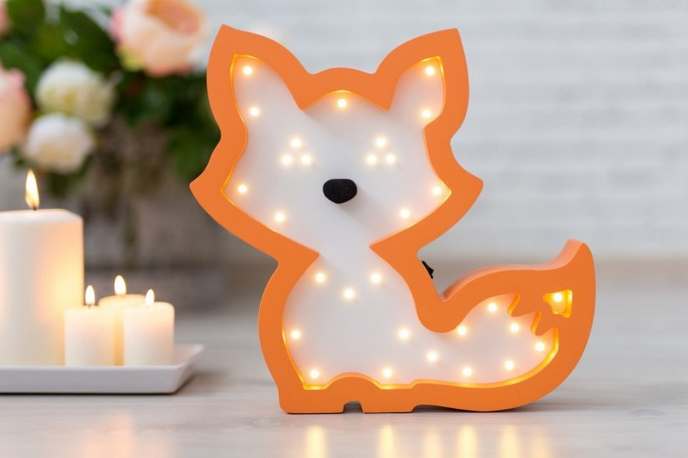 Fox Wooden Night Light