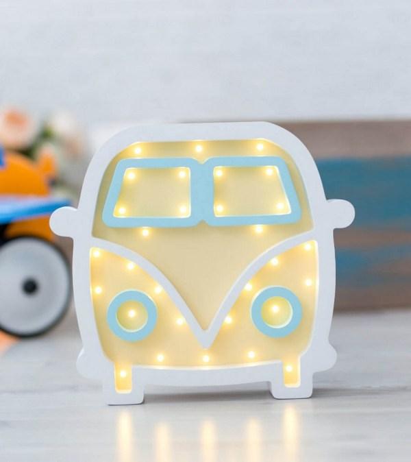 Hippie Bus Wooden Night Light – Cream – 4