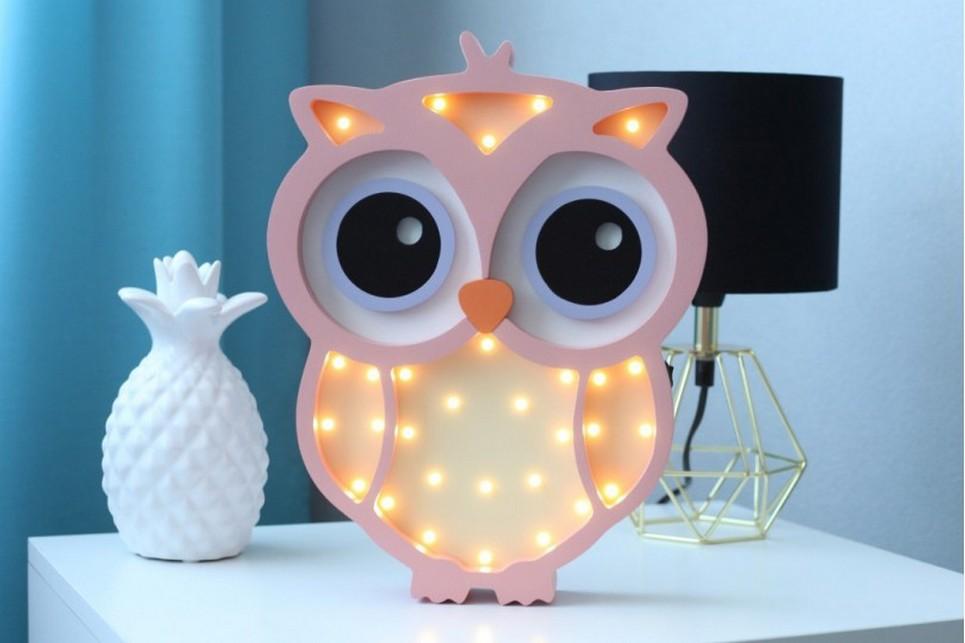 Owl Wooden Night Light – Cream