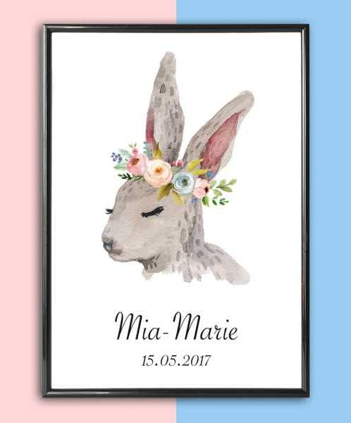 Personalised Name Print Rabbit With Flowers_2