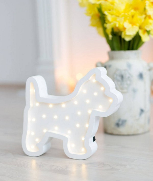 Puppy Wooden Night Light – White – 4