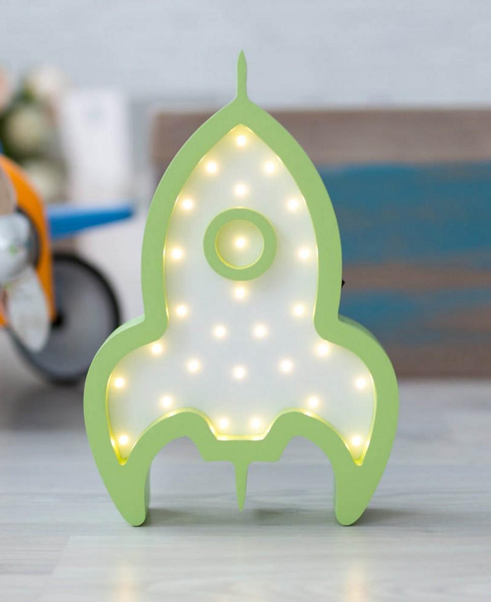 Rocket Wooden Night Light – Green – 4