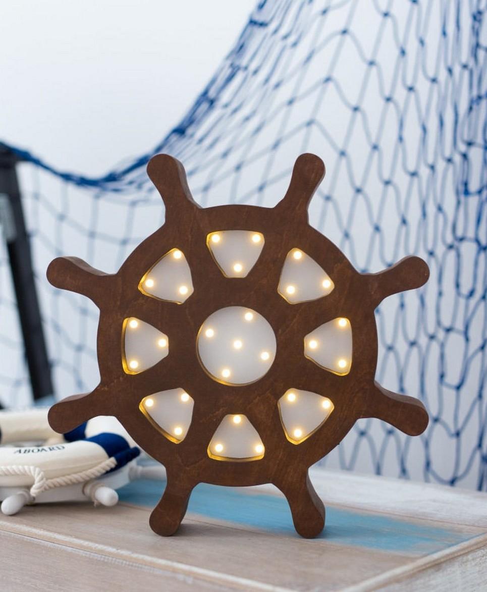 Ship Wheel Wooden Night Light – Brown – 5