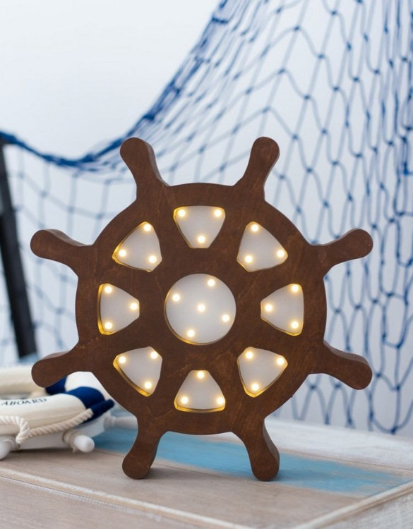 With a charming design, the Ship Wheel Wooden Night Light provides a reassuring glow for your little one, making it perfect for a nursery or kids room nightlight, or an interesting addition to any other space.