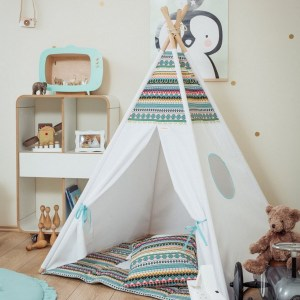 Let your little ones create their own little world with the Etno Children's Teepee Set. It creates the perfect setting for imaginative role play providing endless hours of fun.