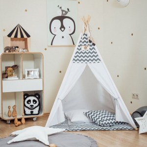 Let your little ones create their own little world with the Grey Chevron Children's Teepee Set. It creates the perfect setting for imaginative role play providing endless hours of fun.