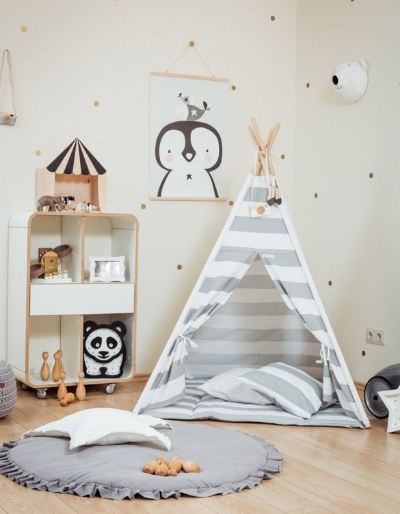 Let your little ones create their own little world with the Grey Stripes Children's Teepee Set. It creates the perfect setting for imaginative role play providing endless hours of fun.