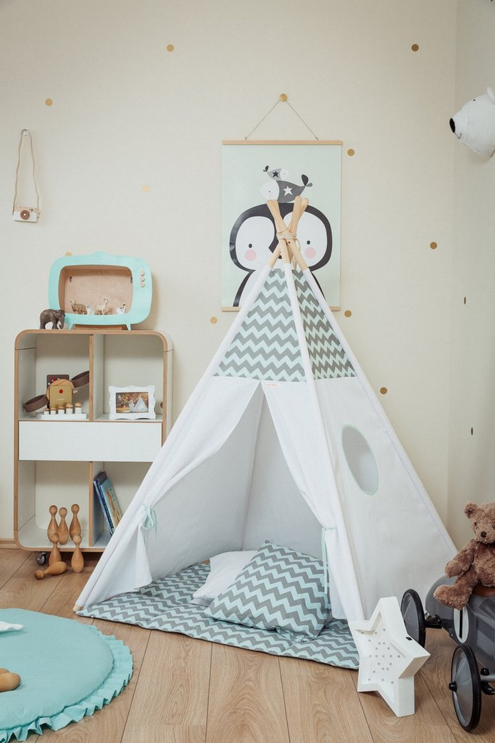 Mint and Grey Chevron Children's Teepee Set_2