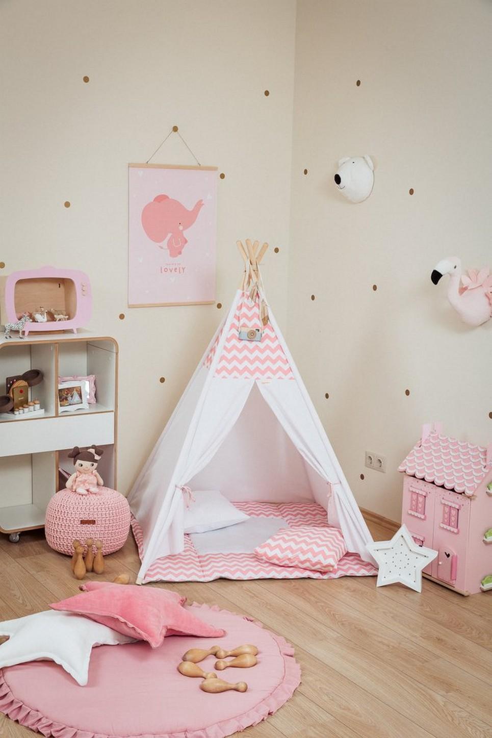 Pink Chevron Children's Teepee Set_2