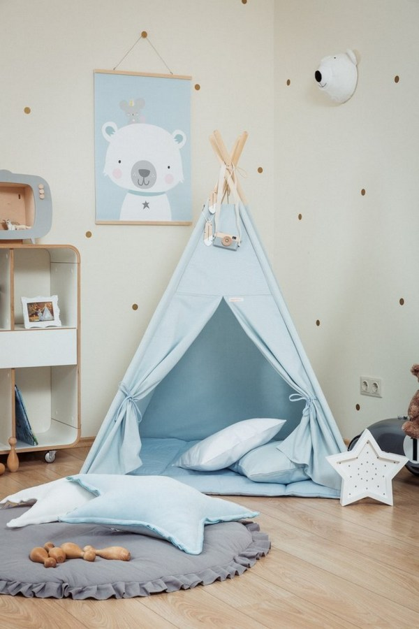 Plain Blue Children's Teepee Set_2