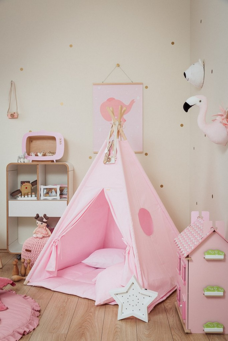 Plain Pink Children's Teepee Set_3