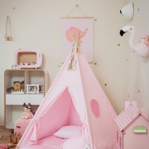 Let your little ones create their own little world with the Plain Pink Children's Teepee Set. It creates the perfect setting for imaginative role play providing endless hours of fun.
