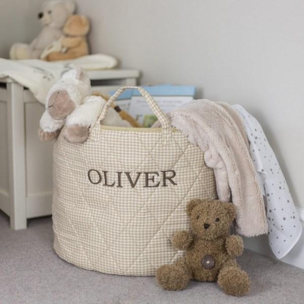 Neutral Gingham Toy Storage Basket