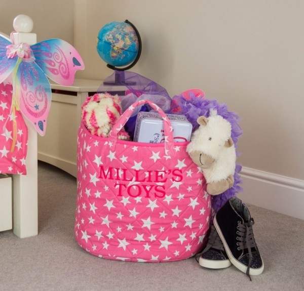 Pink Star Toy Storage Basket