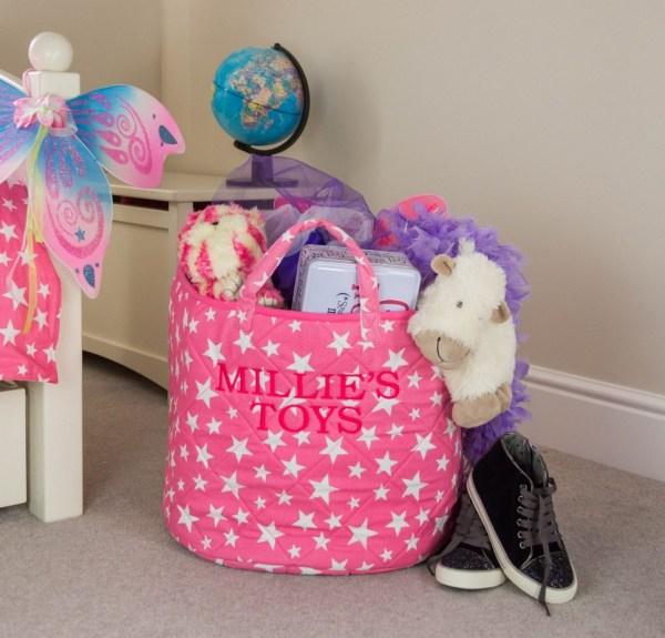 Pink Star Toy Storage Basket
