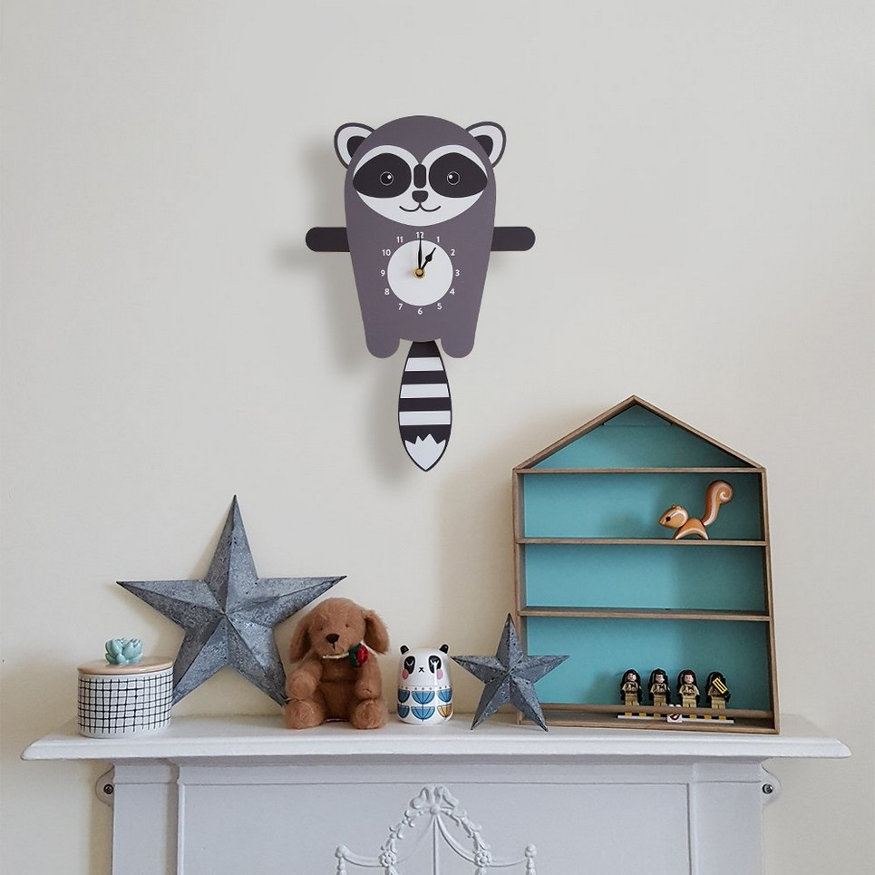 Rocco The Raccoon Pendulum Wall Clock