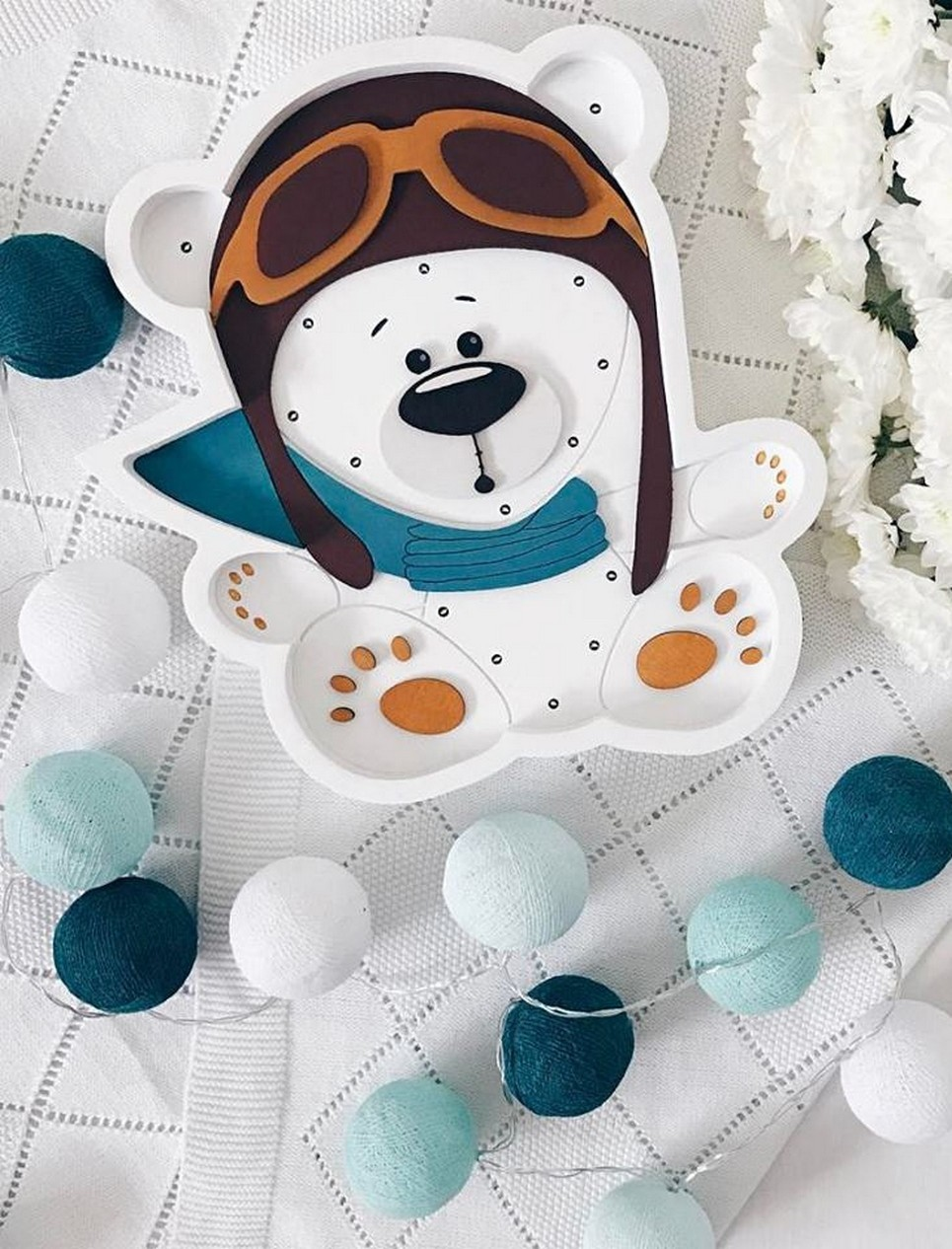 White Pilot Bear Decorative Night Light – 1
