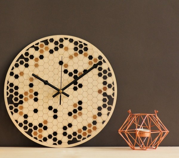 Honeycomb Wooden Wall Clock – 9