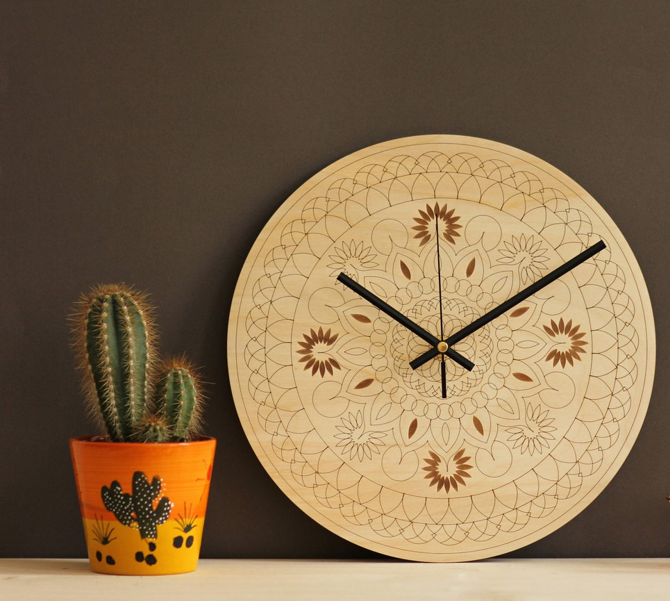 Mandala Wooden Wall Clock – 5
