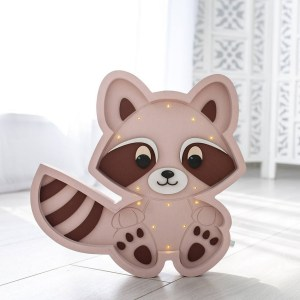 Perfect for setting a calm moon in your kid's bedroom, the Raccoon Decorative Night Light gives a soft glow when turned on.
