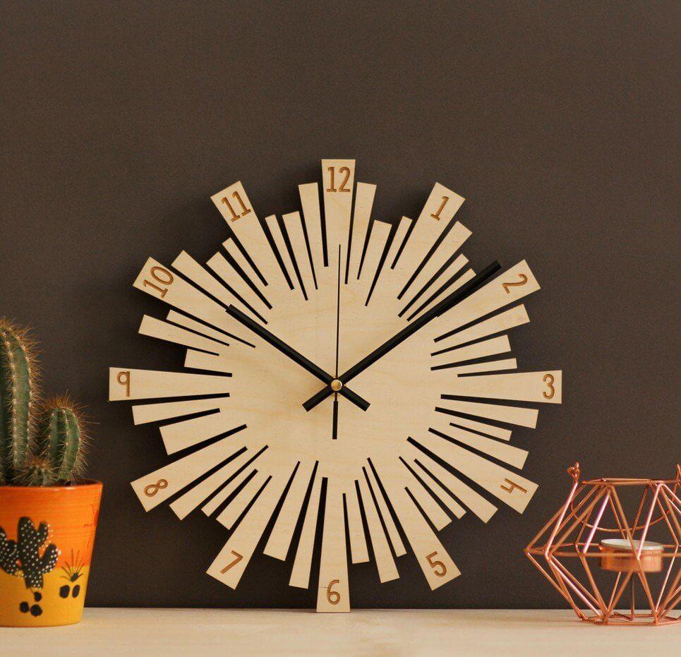 Small Sunburst Wooden Wall Clock – 5